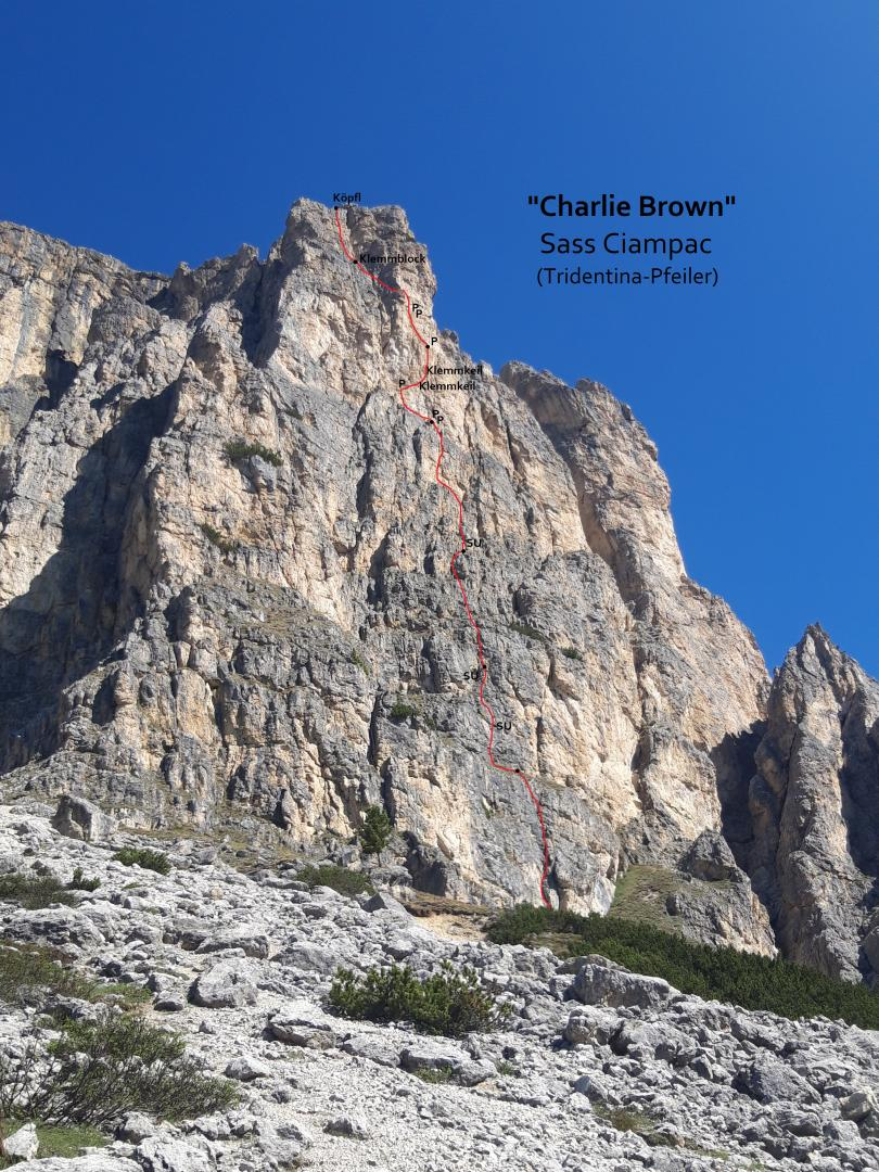 """Charlie Brown"", Sass Ciampac (Dolomiten)"